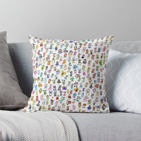 Animal Crossing New Leaf - All Villagers Throw Pillow RB3004product Offical Animal Crossing Merch