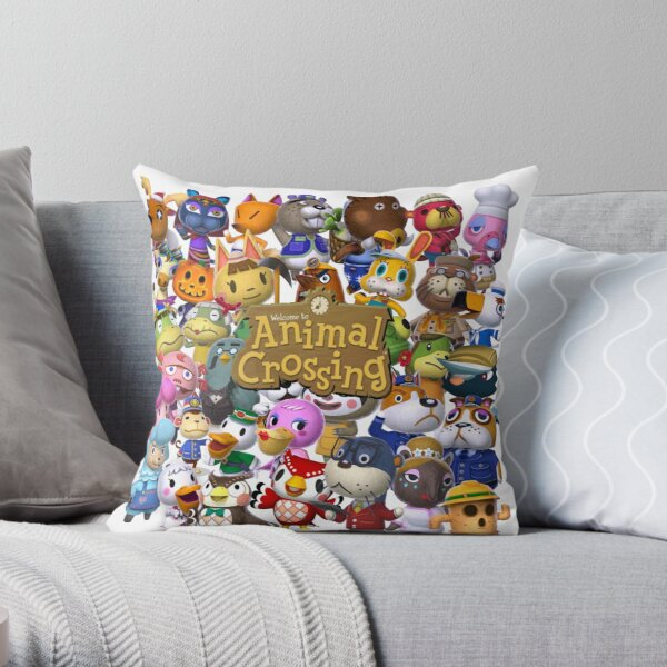 Animal Crossing Collage Throw Pillow RB3004product Offical Animal Crossing Merch